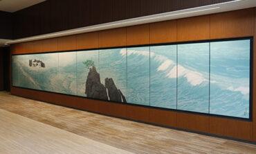 東山魁夷作 唐招提寺障壁画を織物で製作 西陣織綴錦パネル「濤声」