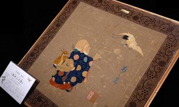川島コレクションより 天鵞絨帛紗「寿老人之図」など掛帛紗を展示中