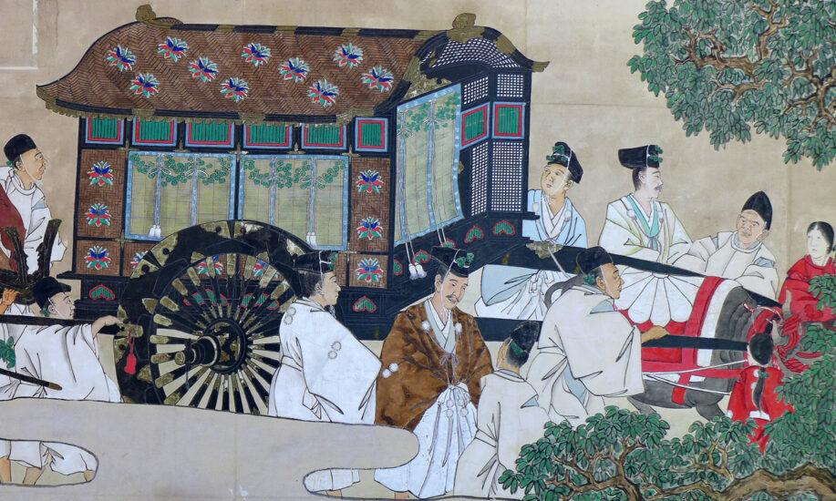 織物になった京都・葵祭 制作資料を紹介中 川島織物文化館
