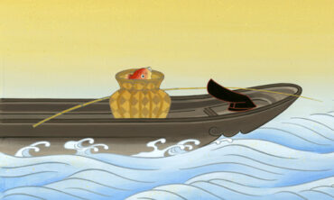 あれっ? 七福神なのに六神  祇園祭「菊水鉾」の鉾を飾る織物の前懸